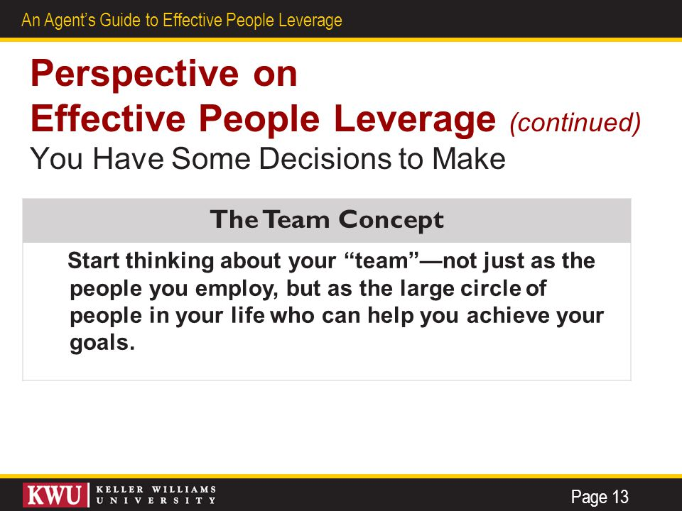 8 An Agent's Guide to Effective People Leverage Perspective on Effective People Leverage (continued) You Have Some Decisions to Make The Team Concept