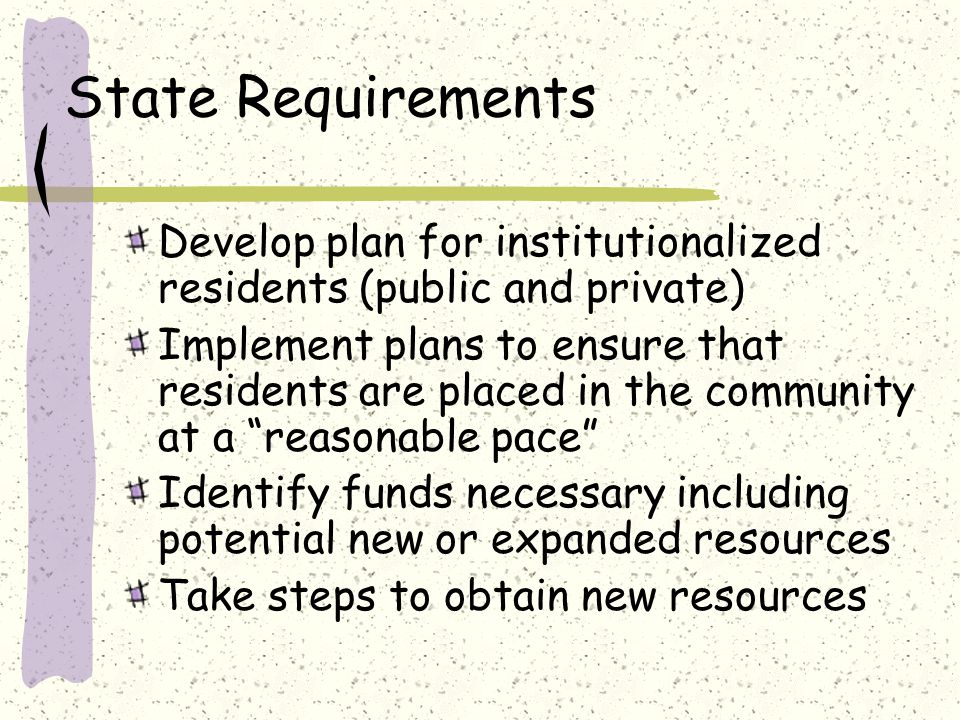 State Requirements Develop plan for institutionalized residents (public and private) Implement plans to ensure that residents are placed in the community at a reasonable pace Identify funds necessary including potential new or expanded resources Take steps to obtain new resources