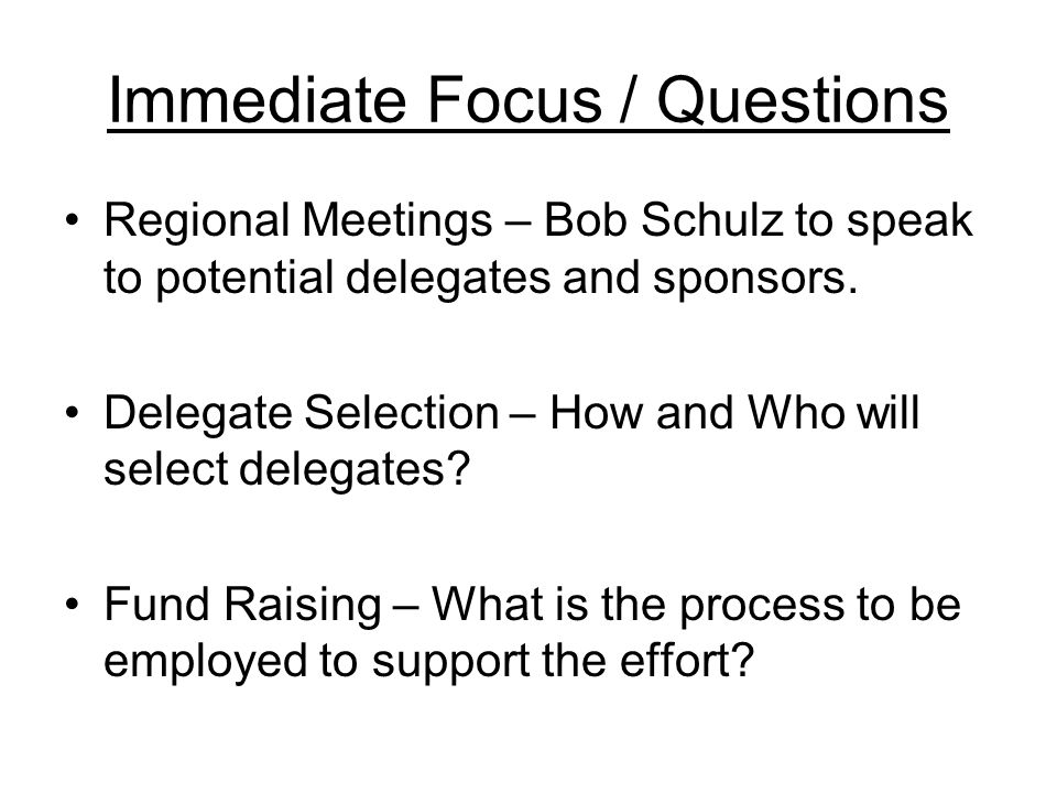 Immediate Focus / Questions Regional Meetings – Bob Schulz to speak to potential delegates and sponsors. Delegate Selection – How and Who will select