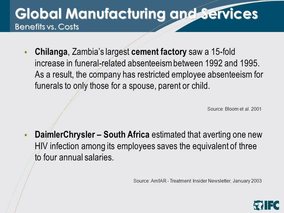 Global Manufacturing and Services Benefits vs. Costs  Chilanga, Zambia's largest cement factory saw a 15-fold increase in funeral-related absenteeism