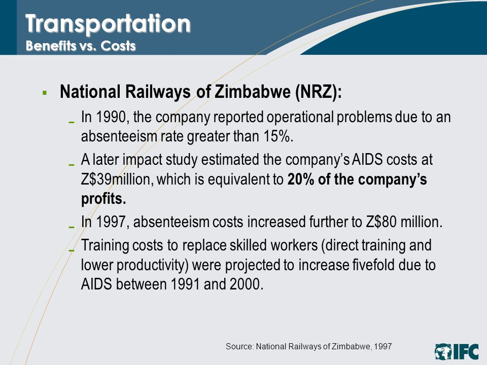 Transportation Benefits vs. Costs  National Railways of Zimbabwe (NRZ):  In 1990, the company reported operational problems due to an absenteeism ra