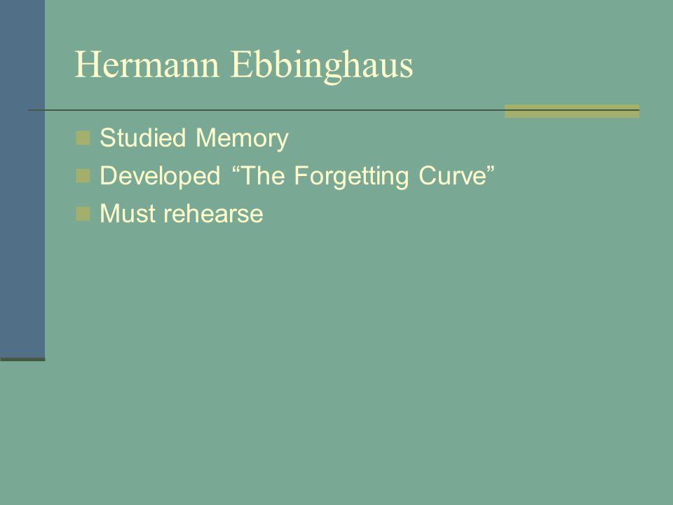 Hermann Ebbinghaus Studied Memory Developed The Forgetting Curve Must rehearse