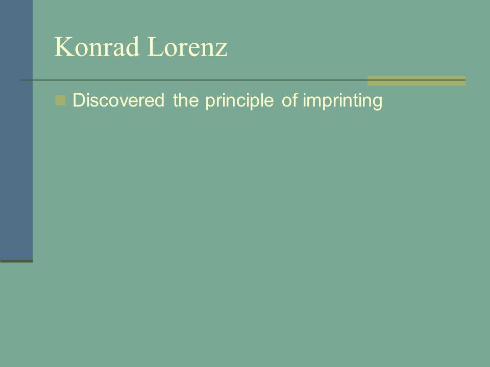 Konrad Lorenz Discovered the principle of imprinting