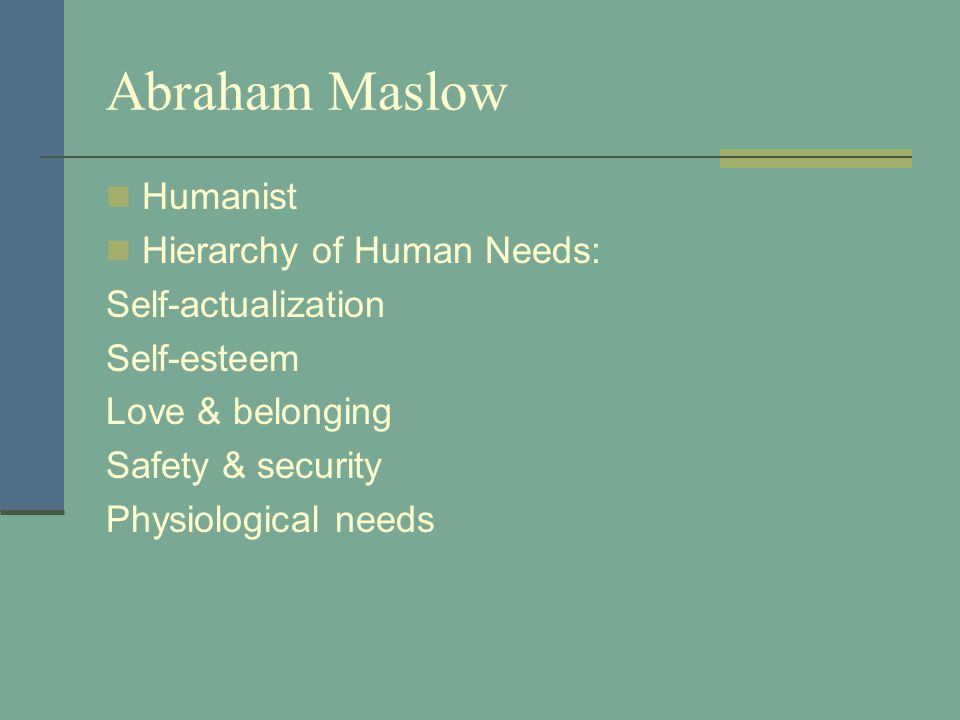 Abraham Maslow Humanist Hierarchy of Human Needs: Self-actualization Self-esteem Love & belonging Safety & security Physiological needs