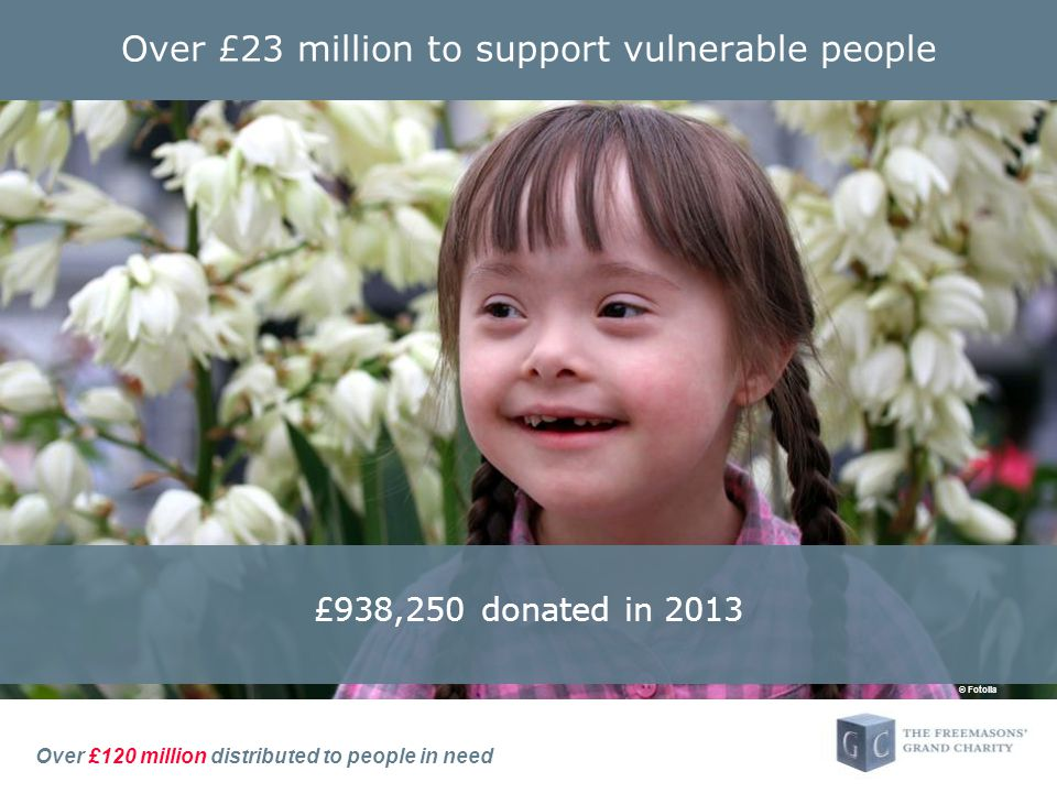 Over £120 million distributed to people in need Over £23 million to support vulnerable people £938,250 donated in 2013 © Fotolia