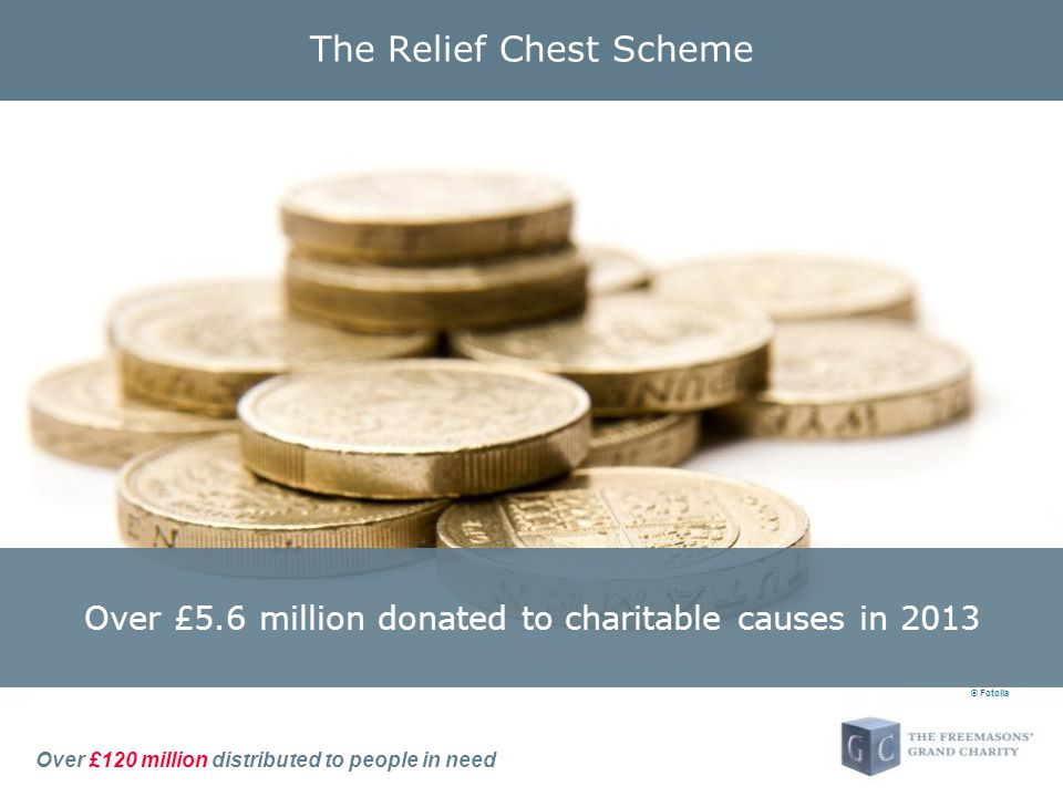Over £120 million distributed to people in need The Relief Chest Scheme © Fotolia Over £5.6 million donated to charitable causes in 2013