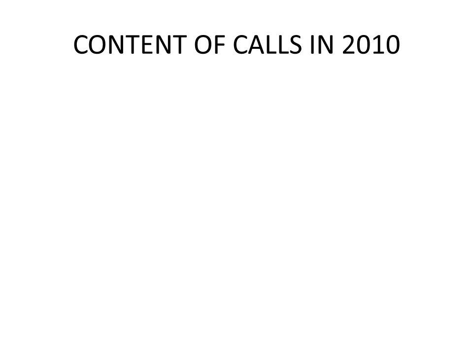 CONTENT OF CALLS IN 2010