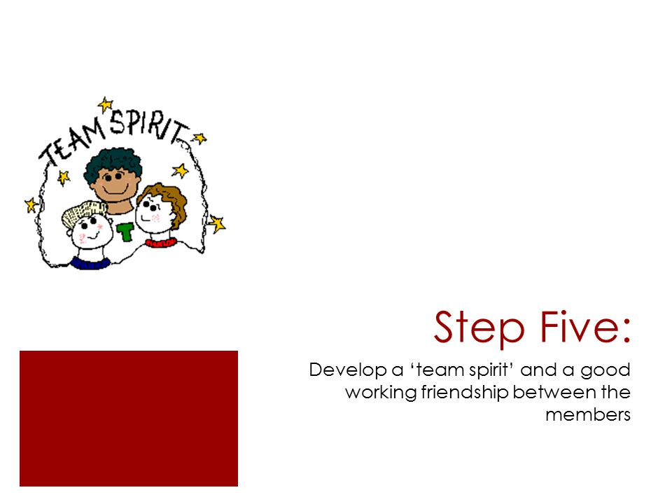 Step Five: Develop a 'team spirit' and a good working friendship between the members