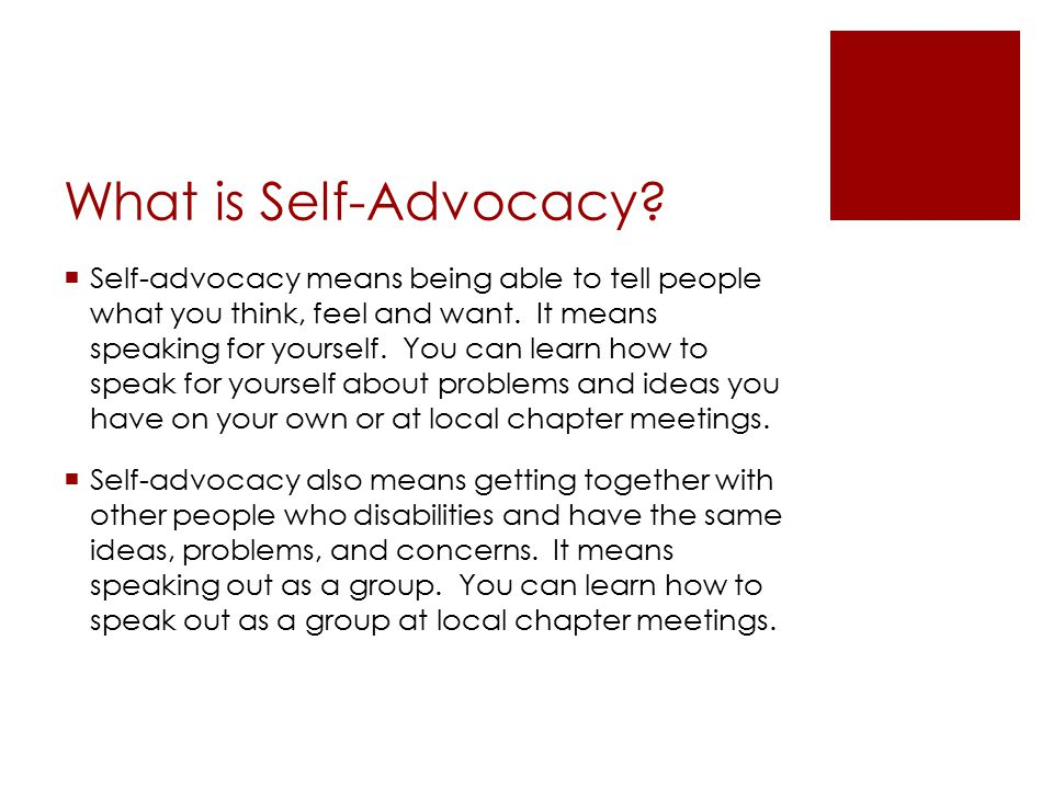 What is Self-Advocacy.