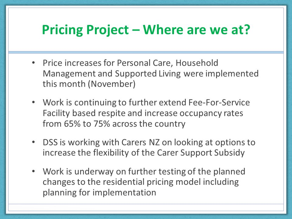Pricing Project – Where are we at.