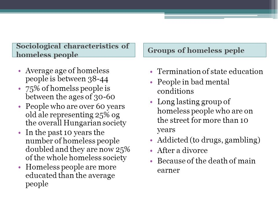 Sociological characteristics of homeless people Groups of homeless peple Average age of homeless people is between 38-44 75% of homelss people is betw
