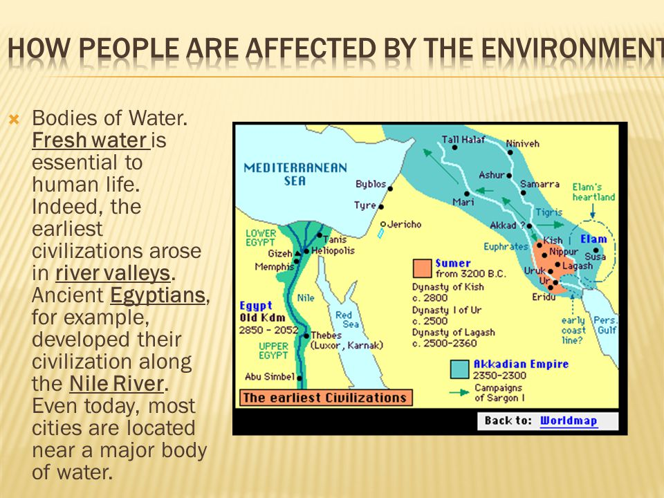  Bodies of Water. Fresh water is essential to human life. Indeed, the earliest civilizations arose in river valleys. Ancient Egyptians, for example,