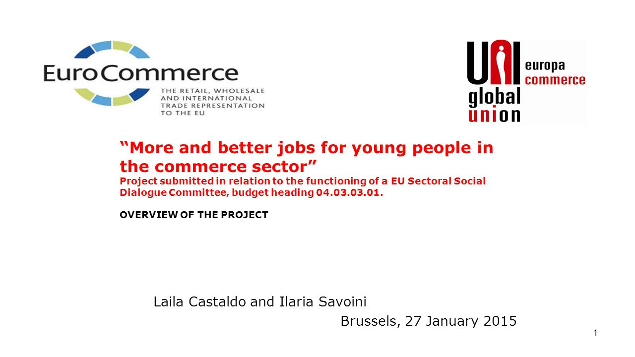 "1 Laila Castaldo and Ilaria Savoini Brussels, 27 January 2015 ""More and better jobs for young people in the commerce sector"" Project submitted in rela"