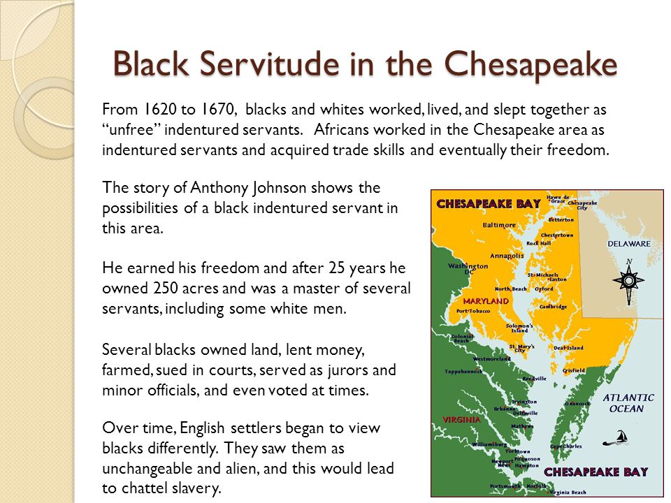 Black Servitude in the Chesapeake From 1620 to 1670, blacks and whites worked, lived, and slept together as unfree indentured servants.