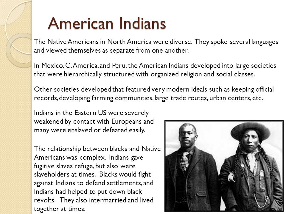 American Indians The Native Americans in North America were diverse.