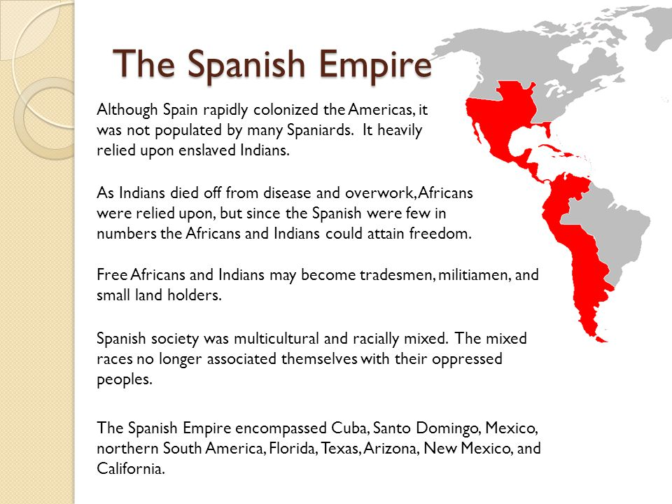 The Spanish Empire Although Spain rapidly colonized the Americas, it was not populated by many Spaniards. It heavily relied upon enslaved Indians. As