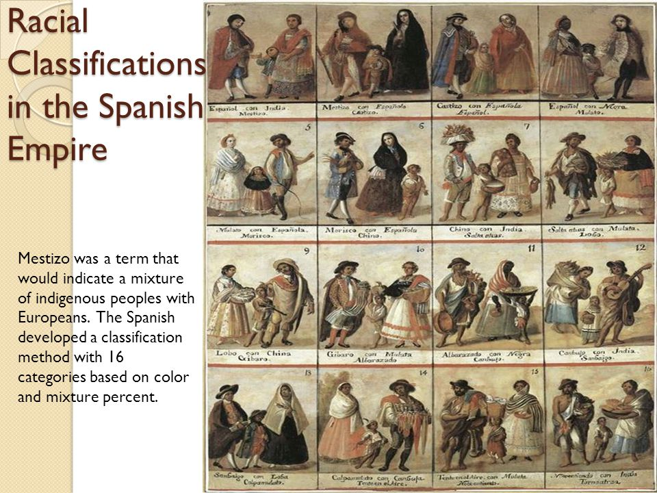 Racial Classifications in the Spanish Empire Mestizo was a term that would indicate a mixture of indigenous peoples with Europeans.