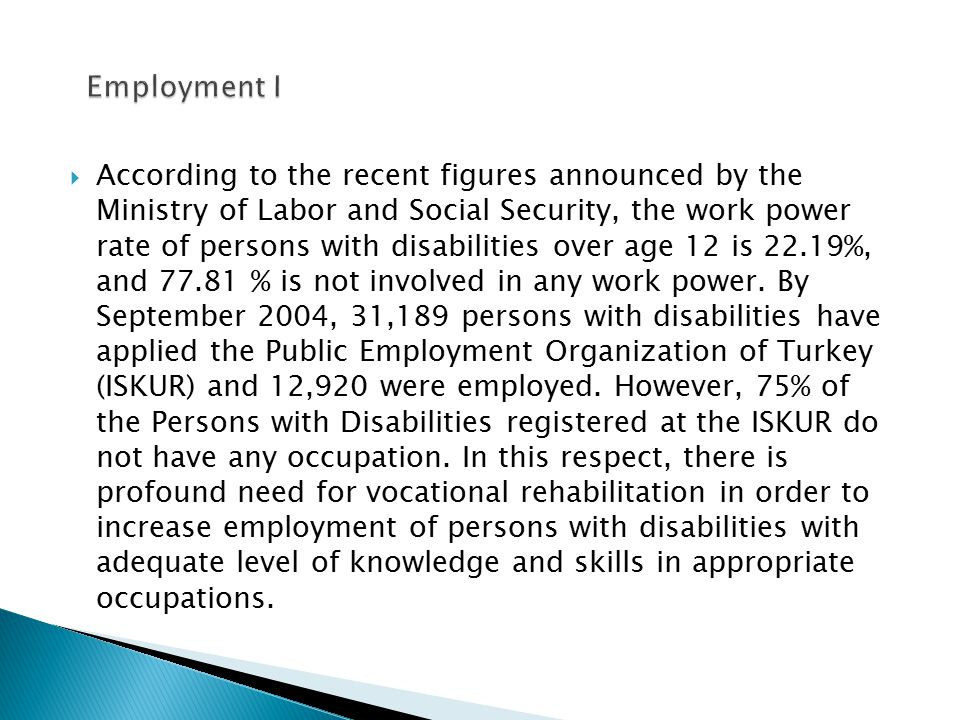  According to the recent figures announced by the Ministry of Labor and Social Security, the work power rate of persons with disabilities over age 12 is 22.19%, and 77.81 % is not involved in any work power.