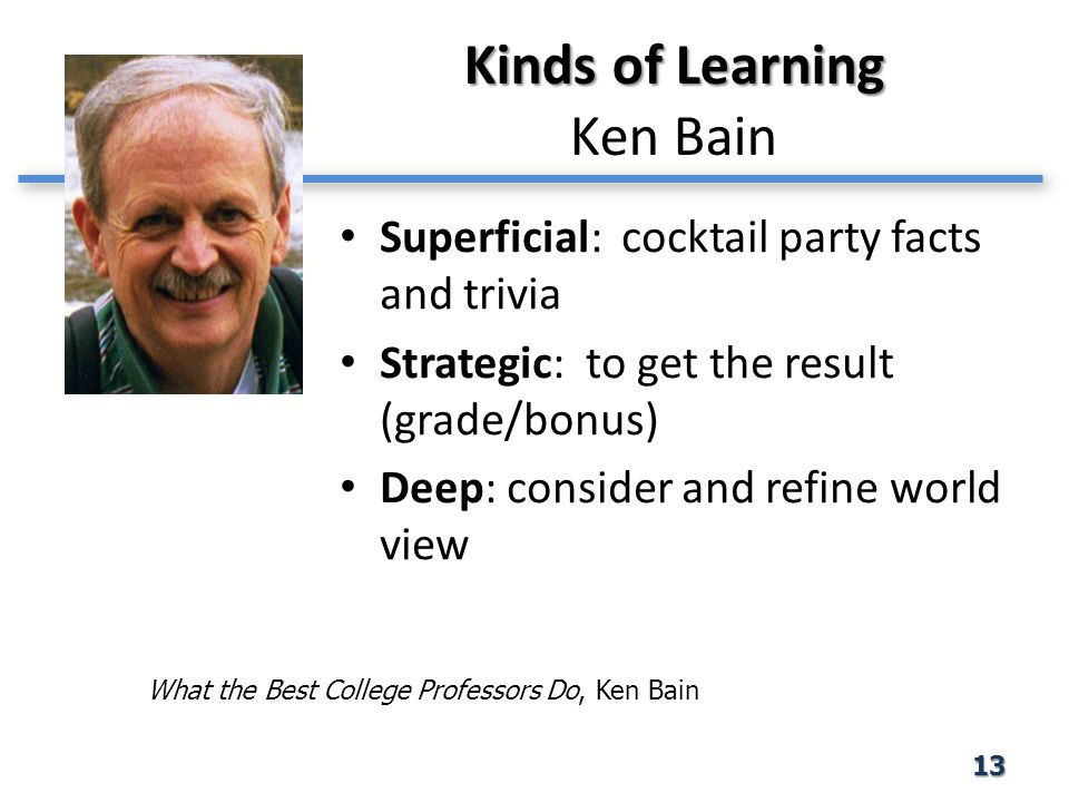 Kinds of Learning Kinds of Learning Ken Bain Superficial: cocktail party facts and trivia Strategic: to get the result (grade/bonus) Deep: consider an
