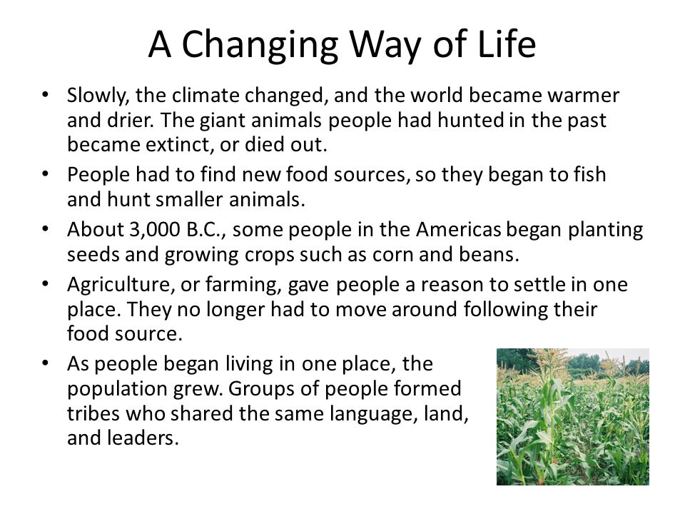 A Changing Way of Life Slowly, the climate changed, and the world became warmer and drier. The giant animals people had hunted in the past became exti