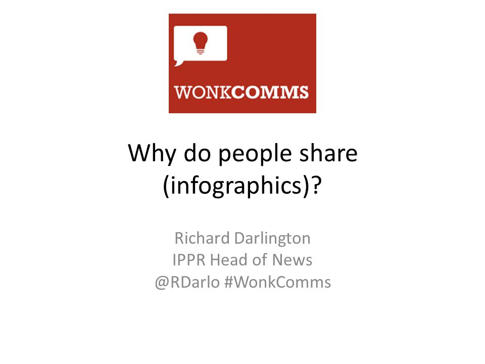 Why do people share (infographics) Richard Darlington IPPR Head of News @RDarlo #WonkComms
