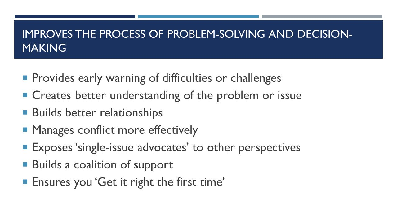 IMPROVES THE PROCESS OF PROBLEM-SOLVING AND DECISION- MAKING  Provides early warning of difficulties or challenges  Creates better understanding of