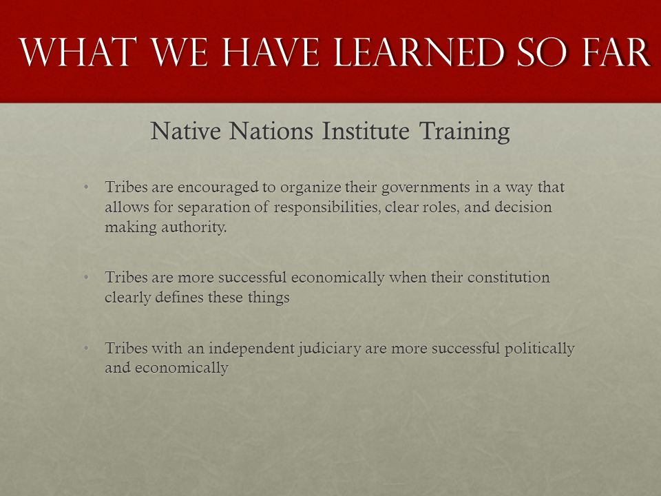 Tribes are encouraged to organize their governments in a way that allows for separation of responsibilities, clear roles, and decision making authority.