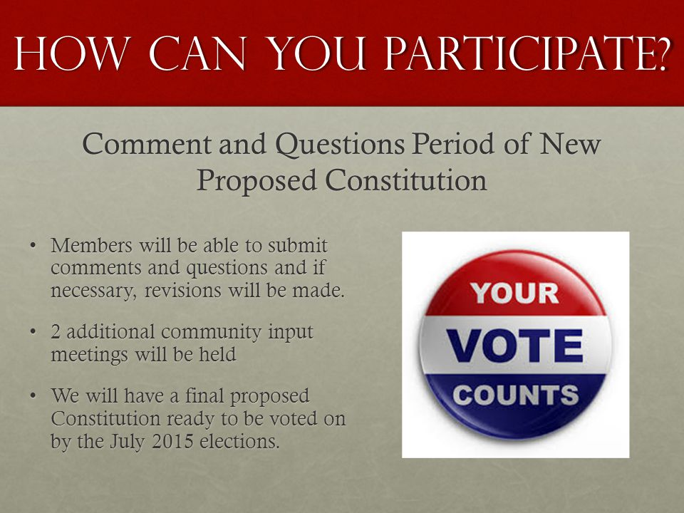 Comment and Questions Period of New Proposed Constitution Members will be able to submit comments and questions and if necessary, revisions will be made.Members will be able to submit comments and questions and if necessary, revisions will be made.