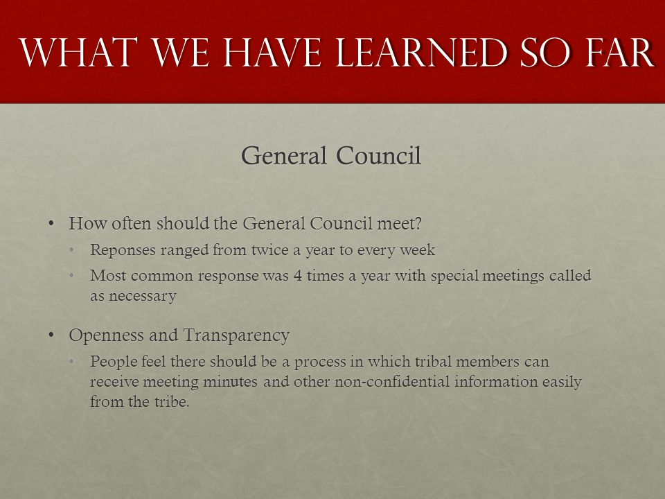 General Council How often should the General Council meet How often should the General Council meet.