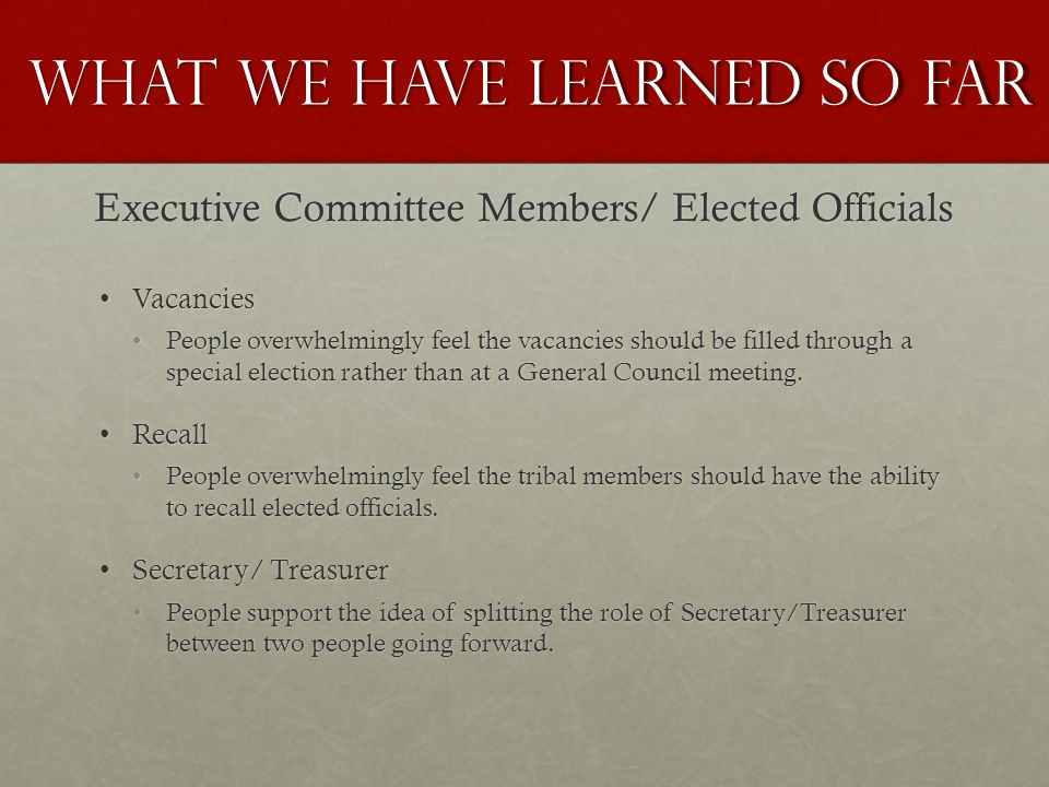 VacanciesVacancies People overwhelmingly feel the vacancies should be filled through a special election rather than at a General Council meeting.