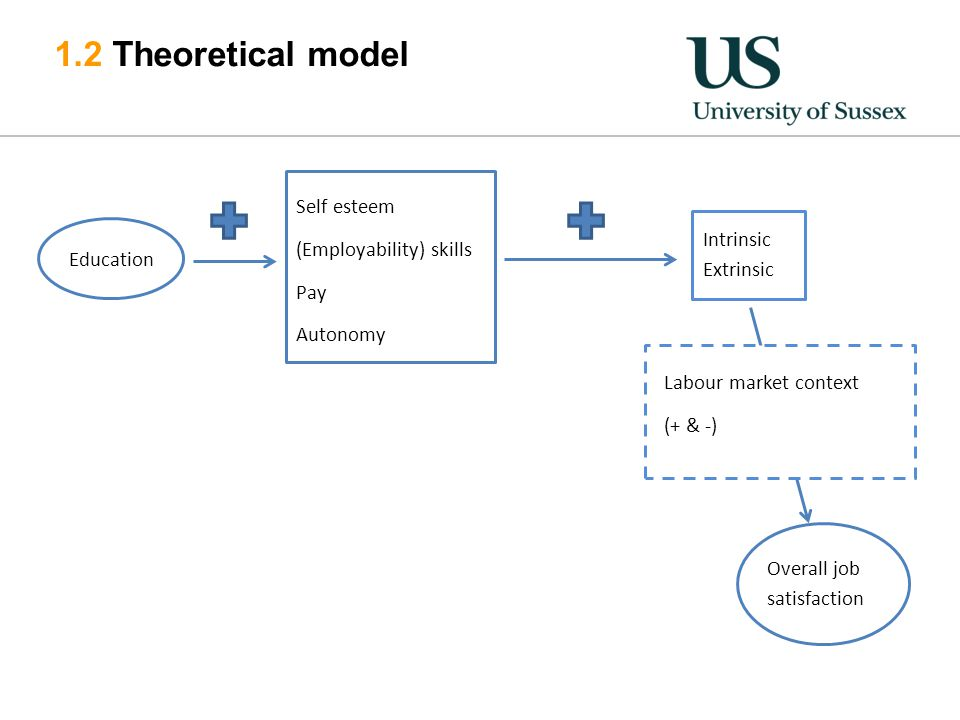1.2 Theoretical model Intrinsic Extrinsic Self esteem (Employability) skills Pay Autonomy Education Overall job satisfaction Labour market context (+ & -)