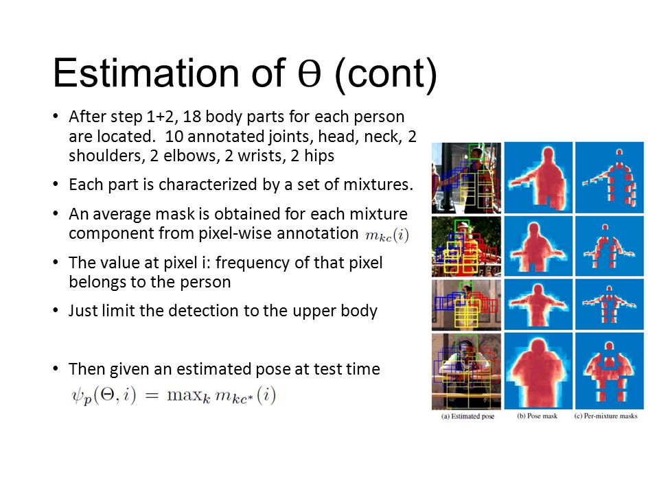 Estimation of Ɵ (cont) After step 1+2, 18 body parts for each person are located.