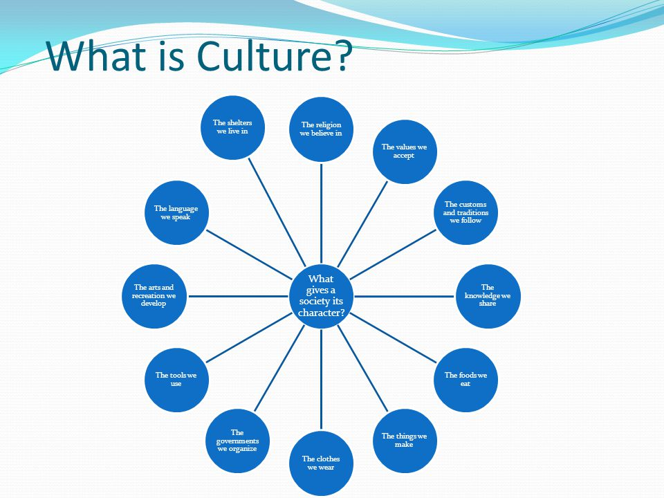 What is Culture? What gives a society its character? The religion we believe in The values we accept The customs and traditions we follow The knowledg