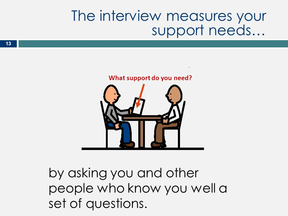 What support do you need? The interview measures your support needs… by asking you and other people who know you well a set of questions. 13