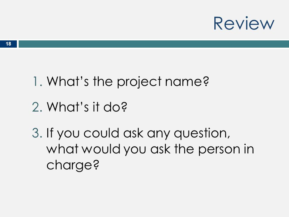 Review 18 1.What's the project name? 2.What's it do? 3.If you could ask any question, what would you ask the person in charge?