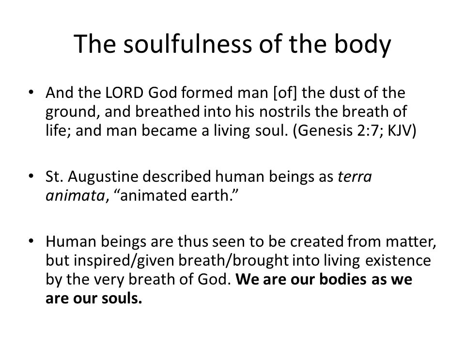 The soulfulness of the body And the LORD God formed man [of] the dust of the ground, and breathed into his nostrils the breath of life; and man became a living soul.