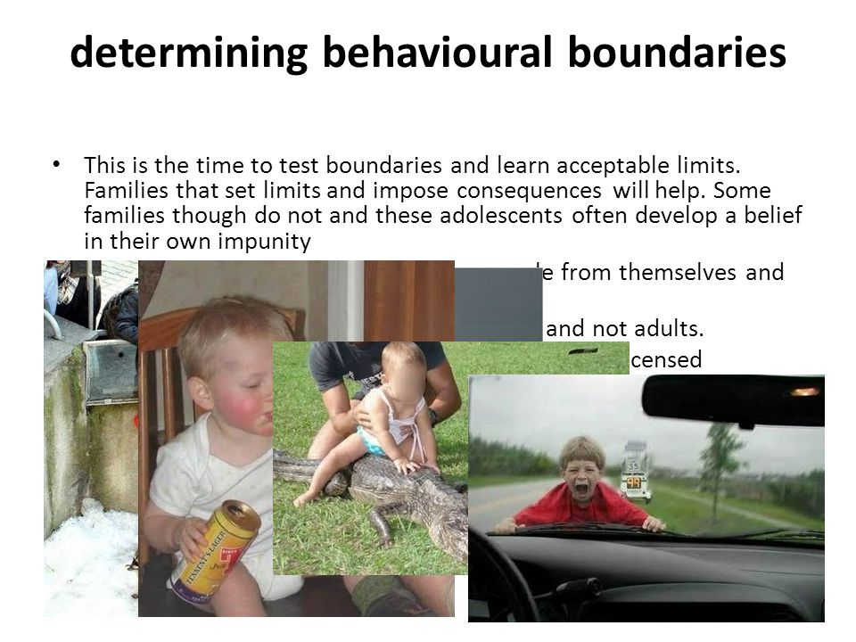 determining behavioural boundaries This is the time to test boundaries and learn acceptable limits.