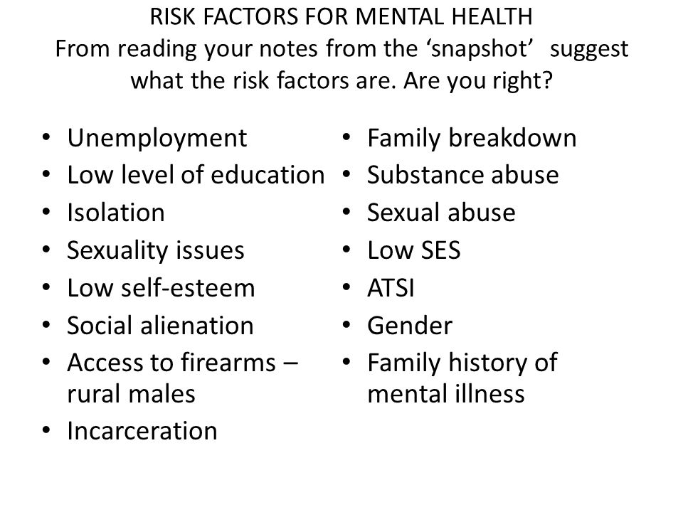 RISK FACTORS FOR MENTAL HEALTH From reading your notes from the 'snapshot' suggest what the risk factors are.