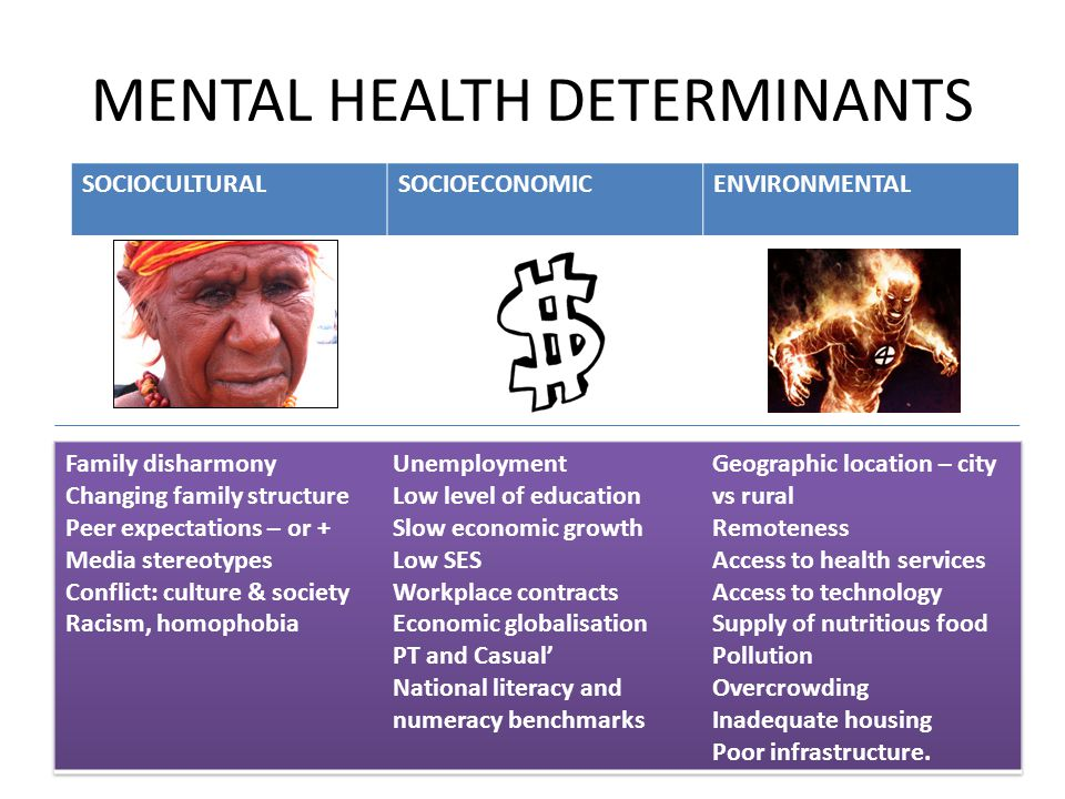 MENTAL HEALTH DETERMINANTS SOCIOCULTURALSOCIOECONOMICENVIRONMENTAL