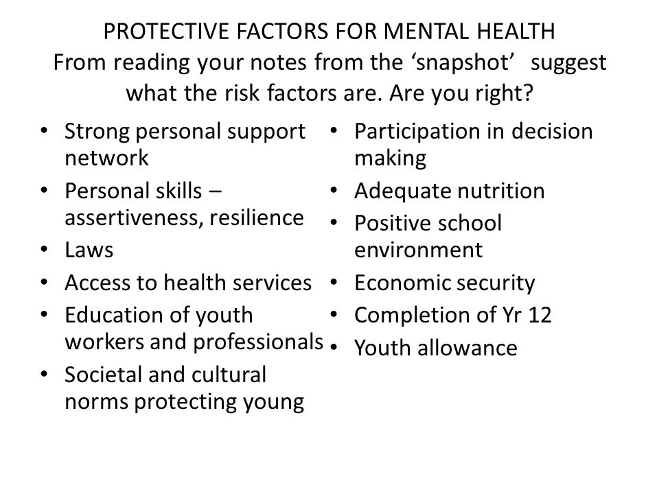 PROTECTIVE FACTORS FOR MENTAL HEALTH From reading your notes from the 'snapshot' suggest what the risk factors are.