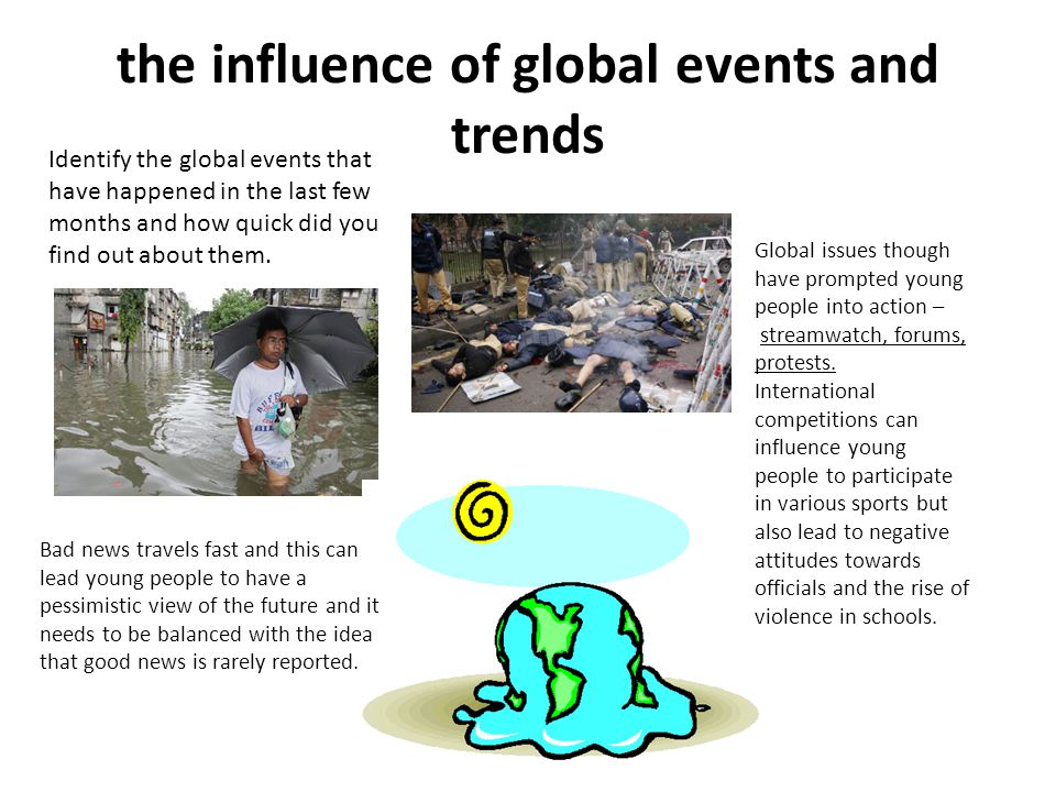 the influence of global events and trends Identify the global events that have happened in the last few months and how quick did you find out about them.
