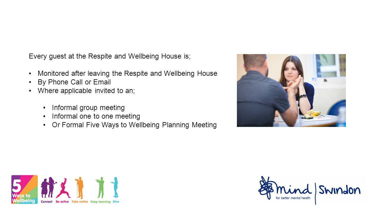 Every guest at the Respite and Wellbeing House is; Monitored after leaving the Respite and Wellbeing House By Phone Call or Email Where applicable invited to an; Informal group meeting Informal one to one meeting Or Formal Five Ways to Wellbeing Planning Meeting