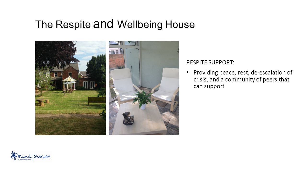 RESPITE SUPPORT: Providing peace, rest, de-escalation of crisis, and a community of peers that can support The Respite and Wellbeing House