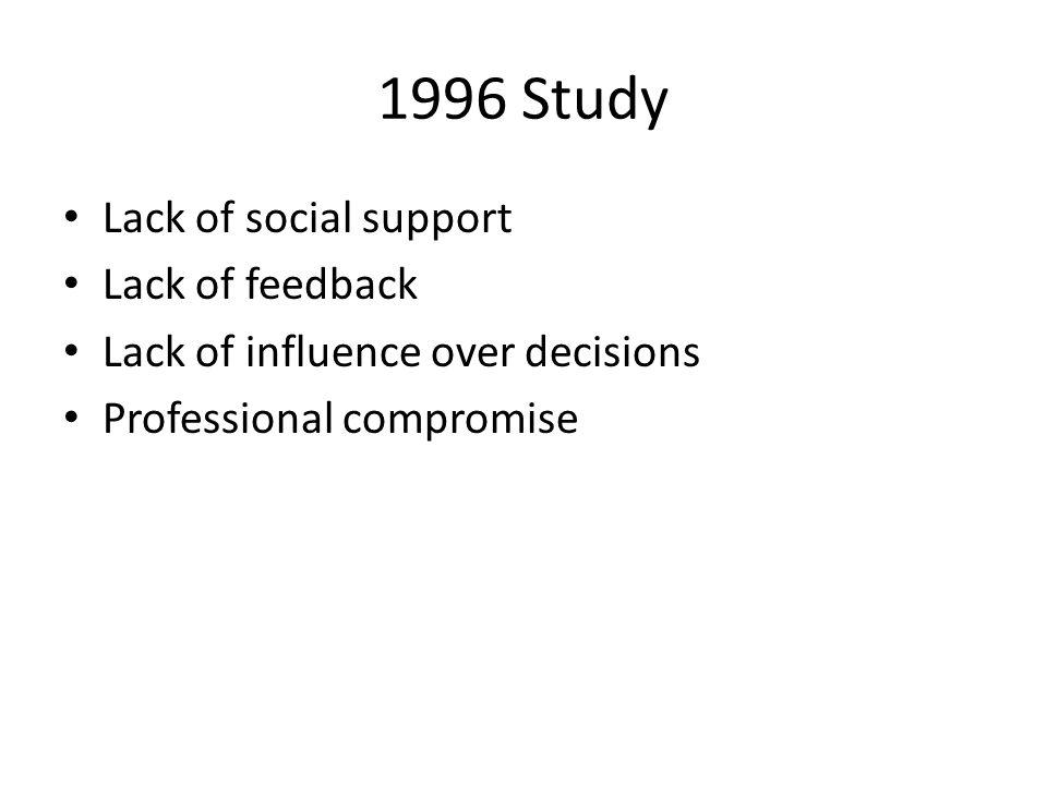 1996 Study Lack of social support Lack of feedback Lack of influence over decisions Professional compromise
