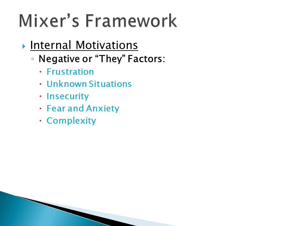  Internal Motivations ◦ Negative or They Factors:  Frustration  Unknown Situations  Insecurity  Fear and Anxiety  Complexity