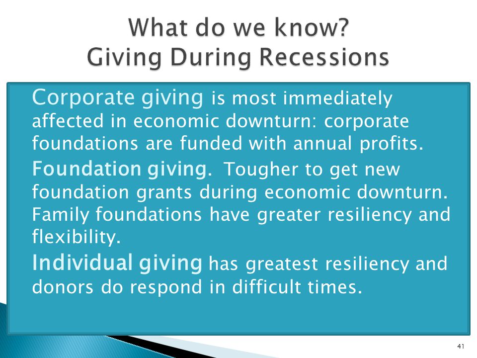  Corporate giving is most immediately affected in economic downturn: corporate foundations are funded with annual profits.