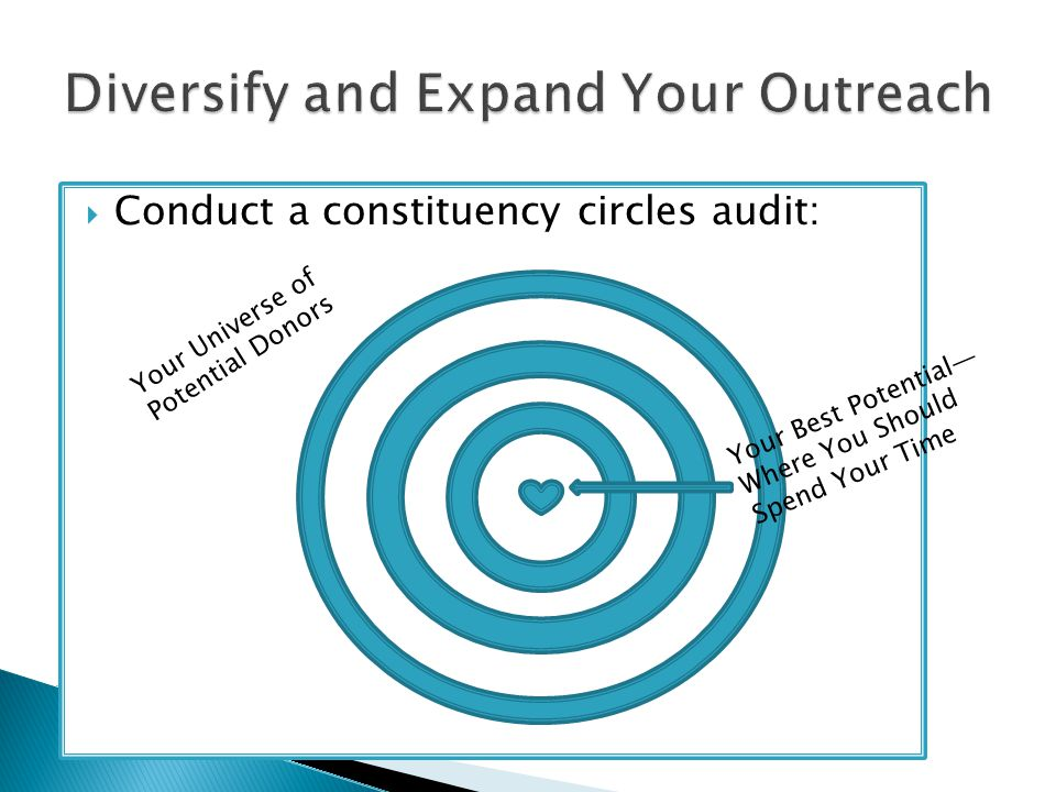  Conduct a constituency circles audit: Your Universe of Potential Donors Your Best Potential— Where You Should Spend Your Time
