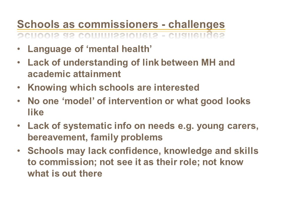Language of 'mental health' Lack of understanding of link between MH and academic attainment Knowing which schools are interested No one 'model' of intervention or what good looks like Lack of systematic info on needs e.g.