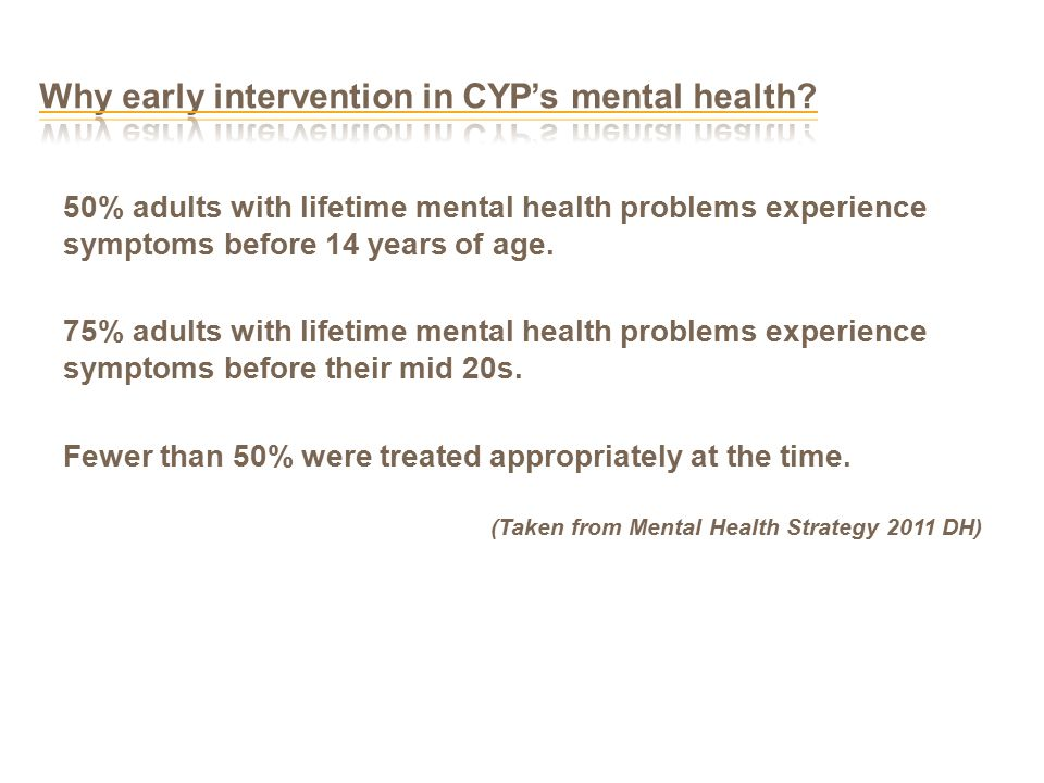 50% adults with lifetime mental health problems experience symptoms before 14 years of age.