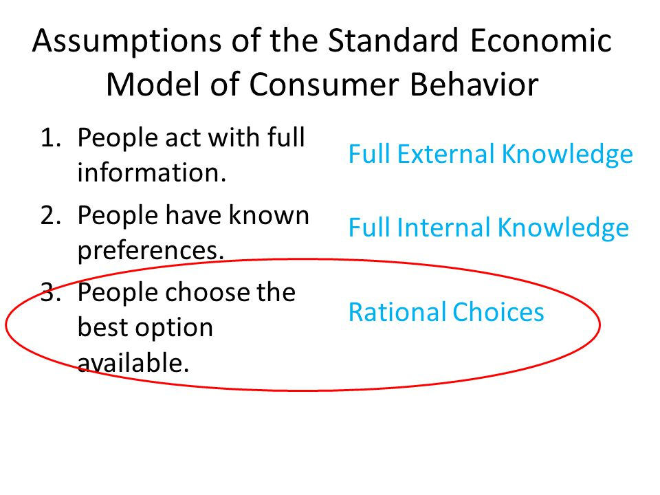 Assumptions of the Standard Economic Model of Consumer Behavior 1.People act with full information. 2.People have known preferences. 3.People choose t